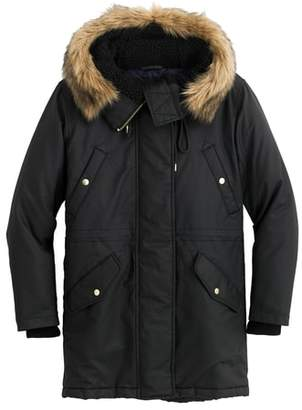 J.Crew Perfect Winter Parka with Faux Fur Trim