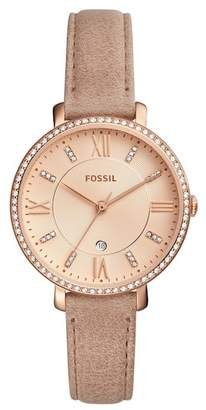 Fossil Women's Jacqueline Three-Hand Date Leather Strap Watch, 36mm