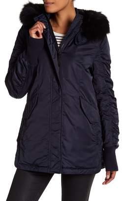 Derek Lam 10 Crosby Aline Genuine Dyed Fox Fur Trim Hooded Satin Anorak Jacket