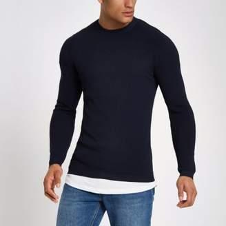 River Island RI Studio navy crew neck muscle fit sweater