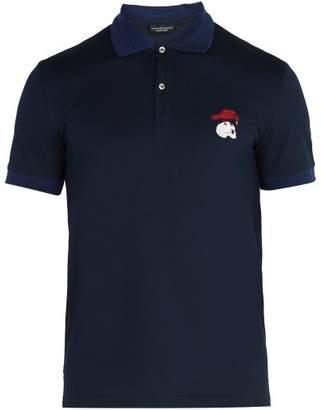 Alexander McQueen Logo Embroidered Cotton Pique Polo Shirt - Mens - Navy