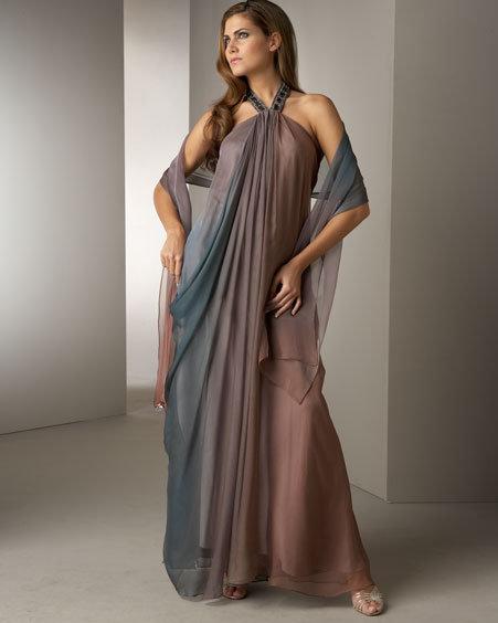 Badgley Mischka Platinum Label Gathered Ombre Halter Gown