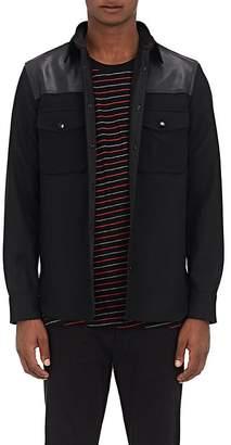 Rag & Bone Men's Key Leather Yoke Melton Shirt Jacket