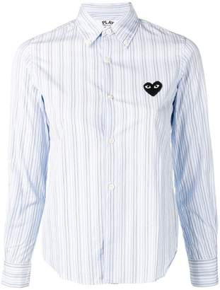 Comme des Garcons embroidered heart striped shirt