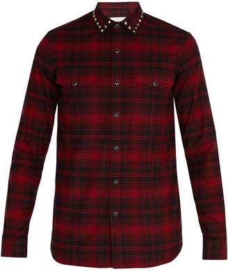 Valentino Rockstud-collar plaid shirt