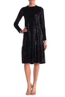 Couture Go Snake Patterned Velvet Ruffle Hem Dress