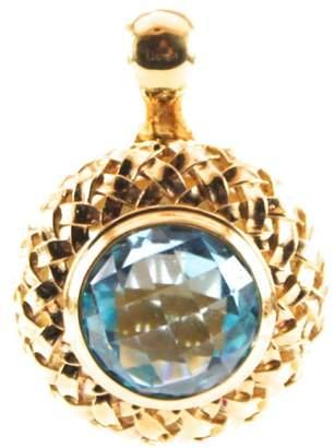 Slane & Slane Slane 18K Yellow Gold Plated Sterling Silver Basketweave Blue Topaz Pendant