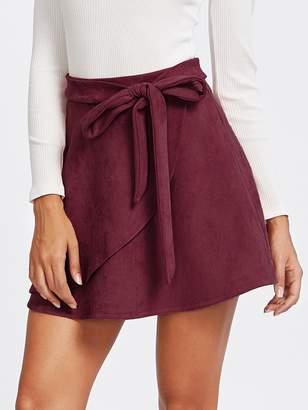 9928615cf36 Shein Wrap Trim Belted Suede Skirt