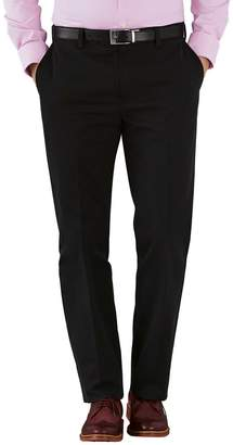 Charles Tyrwhitt Black Slim Fit Flat Front Non-Iron Cotton Chino Trousers Size W34 L30