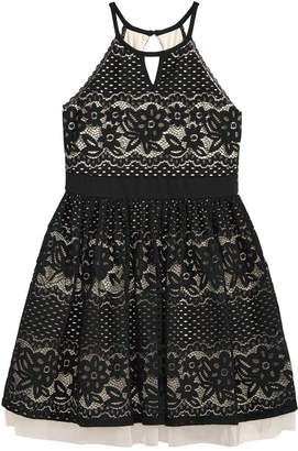 Sequin Hearts Floral-Lace Halter Dress, Big Girls