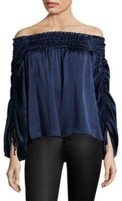 Parker Valentino Ruched Off-The-Shoulder Silk Blouse