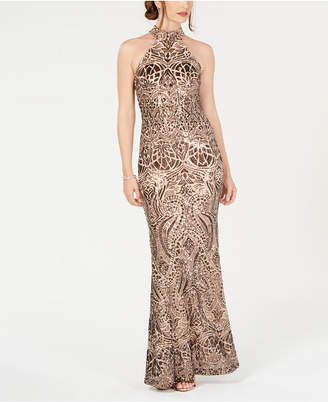 Betsy & Adam Placed-Sequins Halter Gown