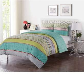 VCNY Home Multi-Color Geometric Printed 2/3 Piece Dharma Embellished Reversible Bedding Duvet Cover Set, Shams Included