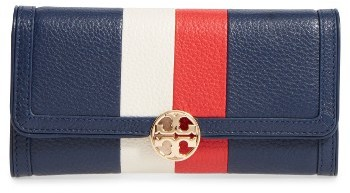 Tory Burch Women's Tory Burch Duet Chain Stripe Leather Continental Wallet - Blue
