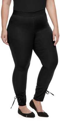 Utopia By Hue Plus Size Utopia by HUE Side-Laced Twill Skimmer Leggings