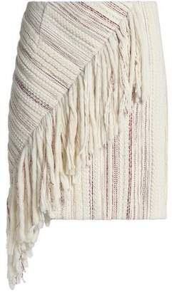 Goen.j Asymmetric Fringed Tweed Mini Skirt