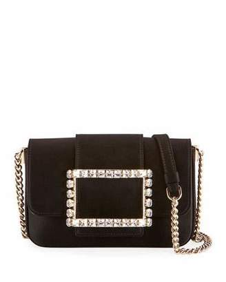 Roger Vivier Tres Strass Satin Buckle Clutch Bag, Black