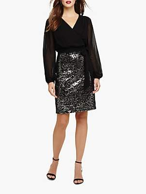 Phase Eight Janessa Sequin Dress, Black/Silver
