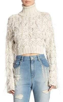 Jonathan Simkhai Sparkle Cropped Turtleneck Sweater