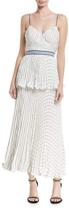 Self-Portrait Monochrome Stripe Sleeveless Tiered Cocktail Dress