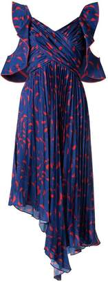 Self-Portrait pleated asymmetric print dress