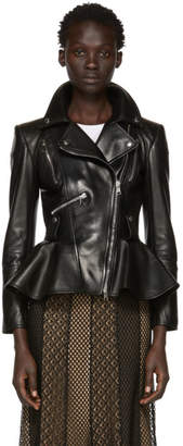 Alexander McQueen Black Lambskin Peplum Jacket