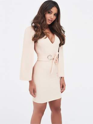 Lavish Alice Cape Mini Dress With Eyelet Detail Belt