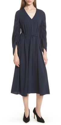 Women's Tibi Convertible Sleeve Midi Dress $595 thestylecure.com