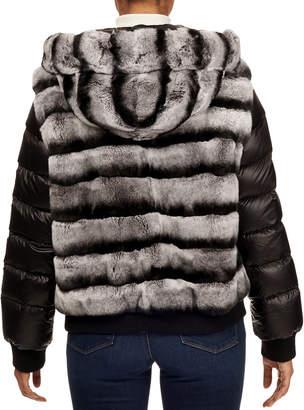 Gorski Rex Rabbit Fur & Puffer Sleeve Hooded Jacket
