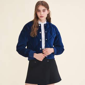 Maje Cropped velvet bomber jacket