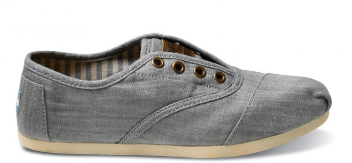 Toms Grey chambray women's cordones