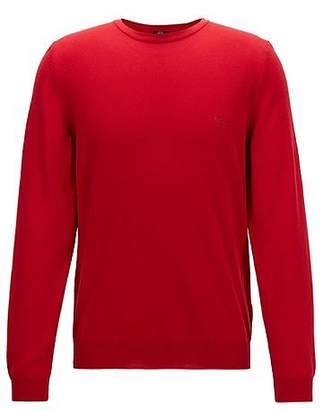 HUGO BOSS Crew-neck cotton sweater with logo embroidery