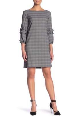Gabby Skye Glen Plaid Ruffle Sleeve Plaid Shift Dress
