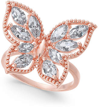 Charter Club Rose Gold-Tone Crystal Butterfly Ring