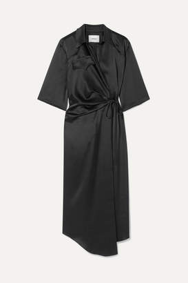 Nanushka Satin Wrap Dress - Black