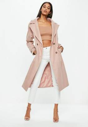 Missguided Double Breasted Faux Wool Coat