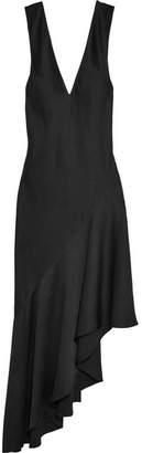 Haider Ackermann - Kuiper Asymmetric Satin Maxi Dress - Black $980 thestylecure.com