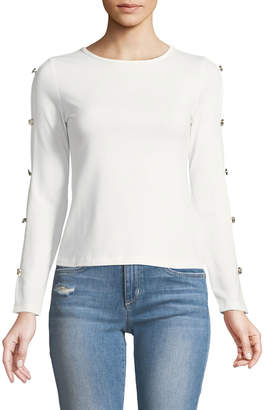 Madisonne Button-Trim Ladder-Sleeve Tee