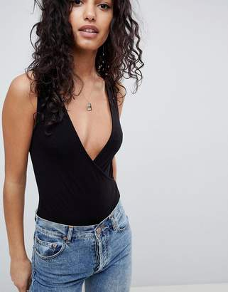 Asos Design DESIGN sleeveless body with wrap front in black