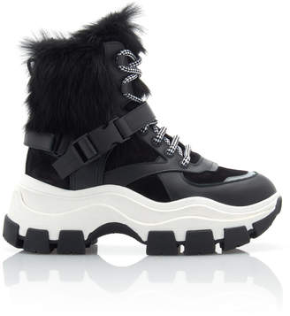 Prada Fur-Trimmed Leather And Rubber High-Top Sneakers Size: 38.5