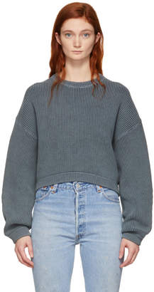 Alexander Wang Grey Cropped Utility Sweater