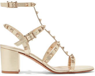 Valentino Garavani The Rockstud 60 Leather Sandals - Gold