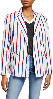 ENGLISH FACTORY Striped Double-Breasted Blazer