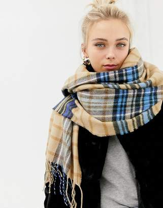 New Look Camel and Blue Check Scarf