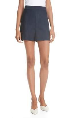 Tibi Pinstripe Knit High Waisted Shorts