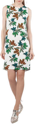 Akris Punto Sleeveless Tropical Leaf Shift Dress