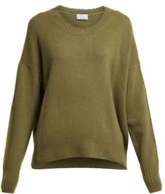 Allude Round Neck Cashmere Sweater - Womens - Khaki