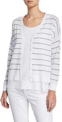 Eileen Fisher Striped V-Neck Button-Front Boxy Cardigan