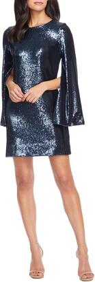 Dress the Population Liza Long Cape Sleeve Sequin Minidress