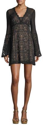 Nanette Lepore Samba V-Neck Bell-Sleeve Mini Dress